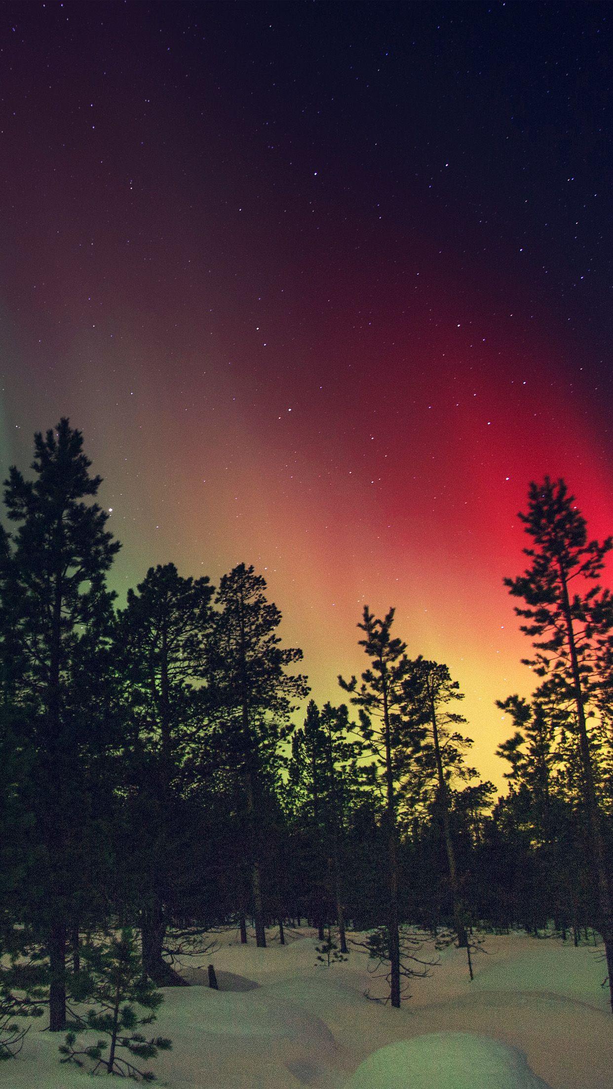 Nice Aurora Night Red Sky Space Dark Romantic Iphone6 Plus