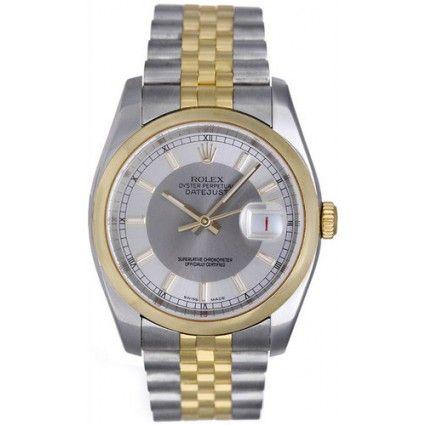 Rolex Datejust Steel & Gold Men's Watch 2-Tone Silver Dial 116203