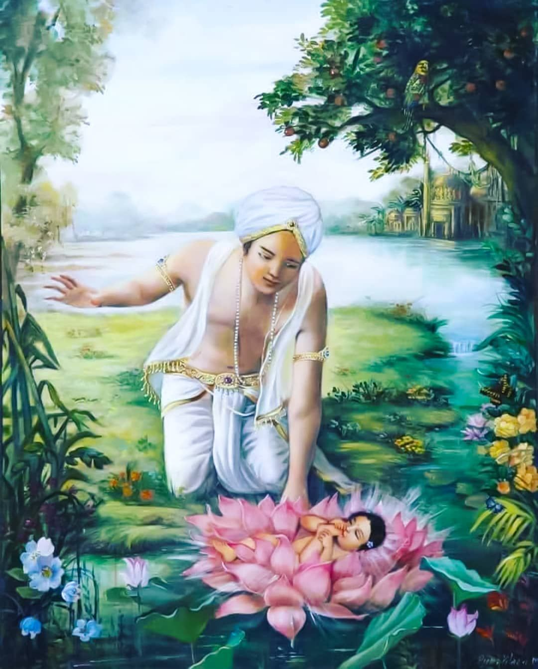 Image May Contain 1 Person Outdoor And Nature Krishna Painting Lord Krishna Images Radha Krishna Images