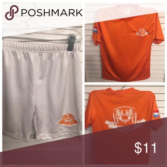 Holland Shirt & Shorts EUC- white shirts with holland logo and orange shirt Matching Sets