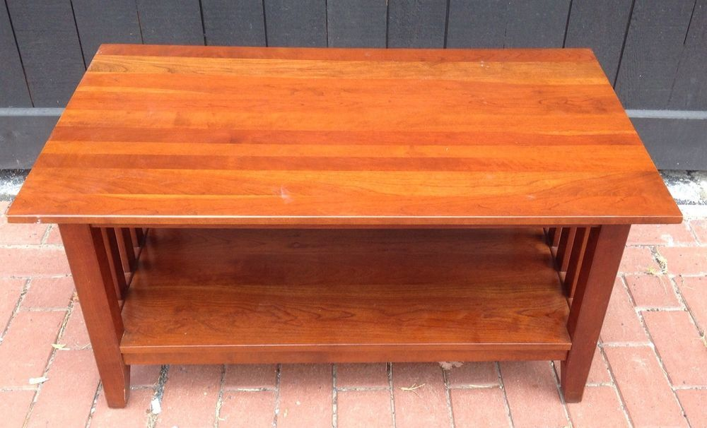 Ethan Allen American Impressions Cherry Mission Style Coffee Cocktail Table  USA #MissionArtsCrafts #EthanAllen