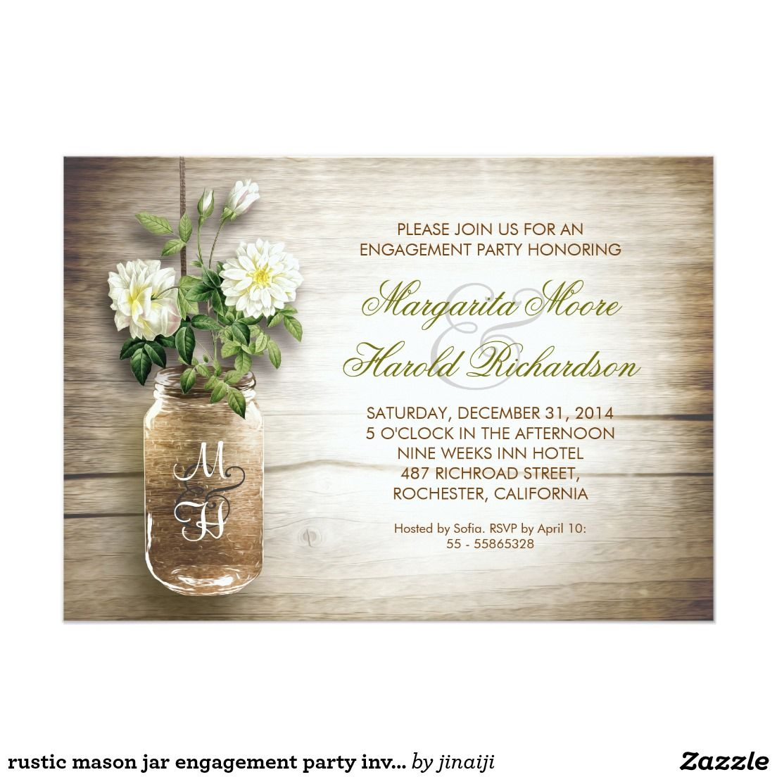 rustic mason jar engagement party invitations | Wedding :Engagement ...