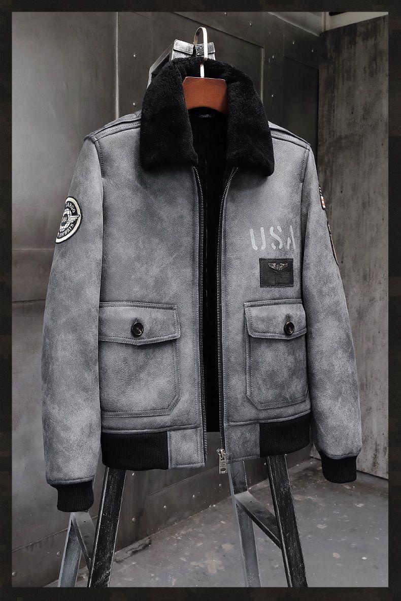 Mens Gray Sheepskin Shearling Jacket Leather Jacket A2