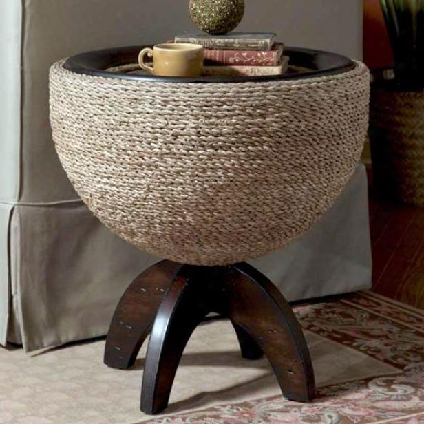 Carmel Round Drum End Table. Hmmm, Sorta Could Look Like A Twine Covered  Version