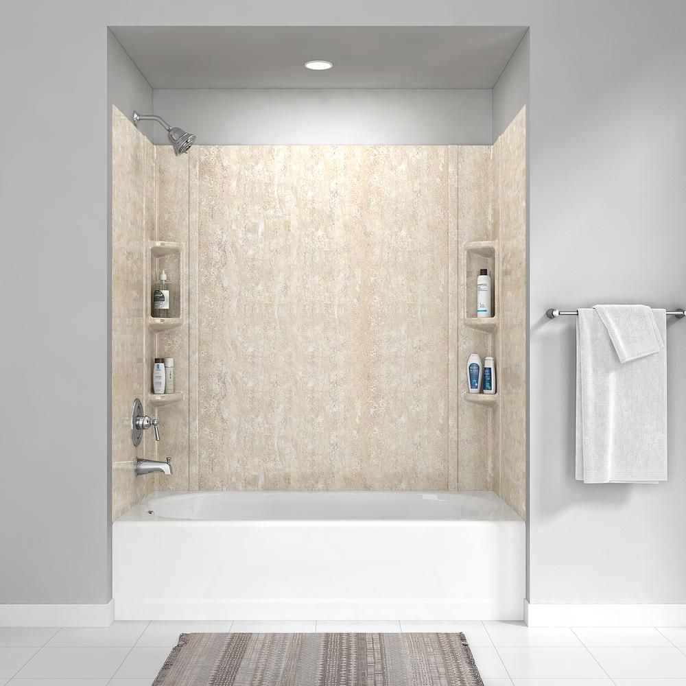 American Standard Colony 32 In X 60 In 5 Piece Glue Up Alcove Wall Bath Set In Sand Travertine 2978bwt 368 The Home Depot In 2020 Bathtub Walls Bathroom Shower Walls Shower Wall