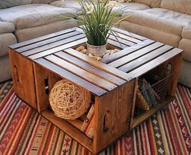Table basse - à faire avec des caisses de vins | recup-fait maison ...