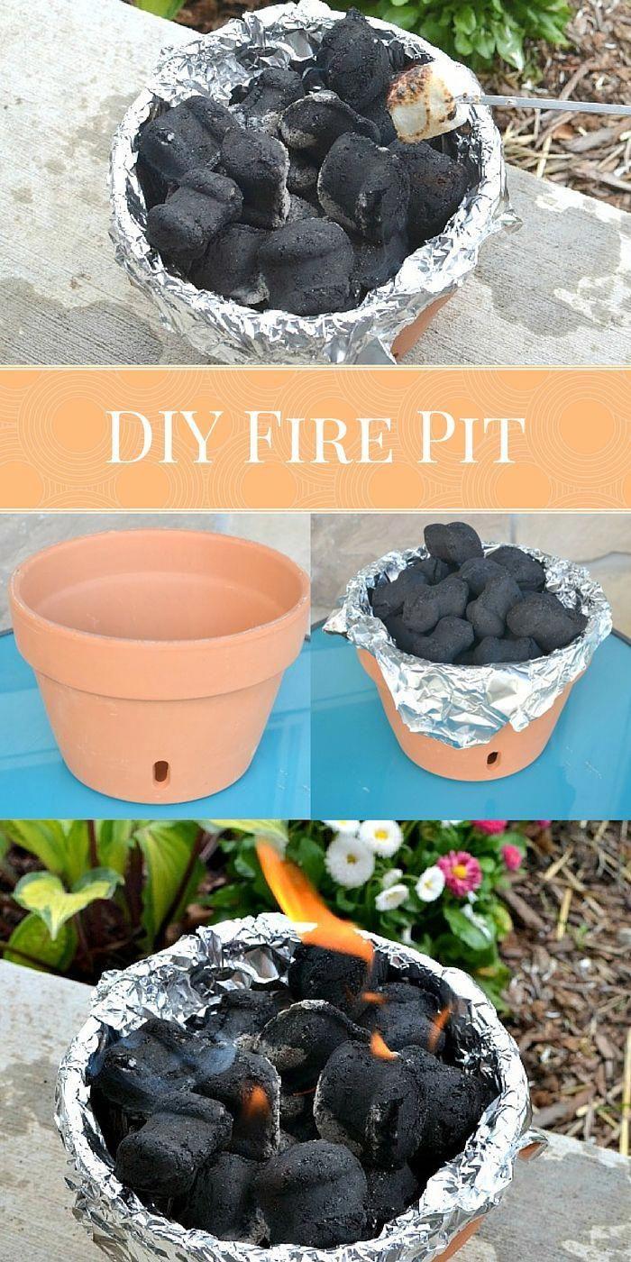 DIY Tabletop Terra Cotta Fire Pit #diyfirepit