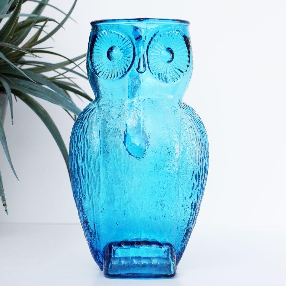 Blue Glass Owl Pitcher Vintage Owl Vintage Modern Kitchen Blue Glass