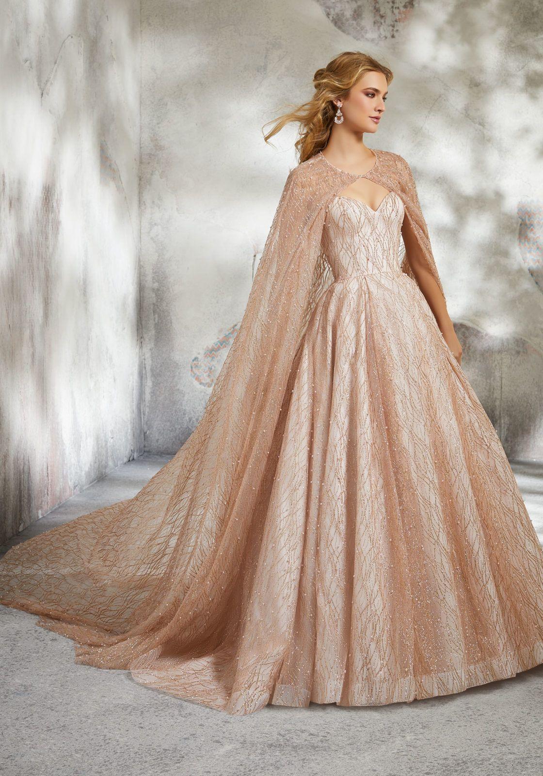 Glitter Net Cape with Pearl Detail Morilee Beautiful