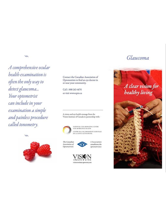 Glaucoma - One of three vision health brochures available in English