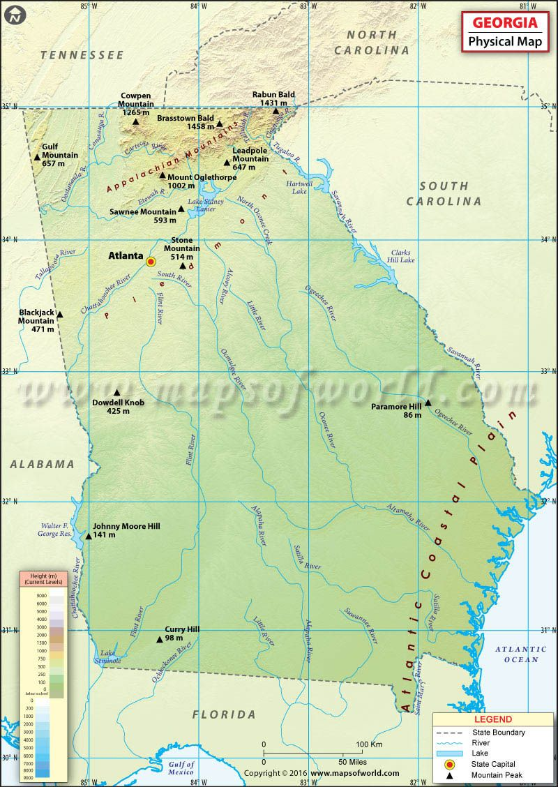 Physical Map Of Georgia Shows Elevations Plateaus Rivers Lakes - Map of usa with lakes