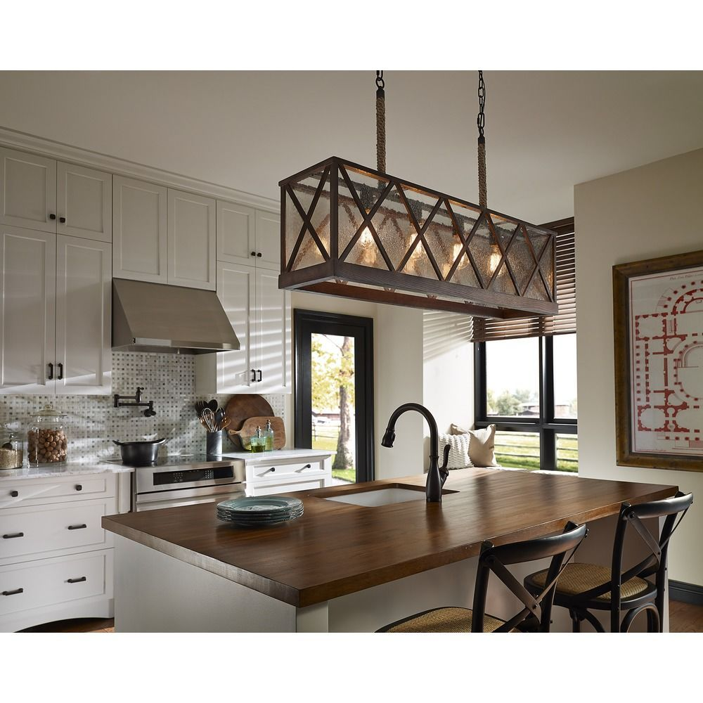 Oil Rubbed Bronze Kitchen Island Lighting Fabric For Chairs Feiss Lumiere Dark Weathered Oak Light With Rectangle Shade At Destination