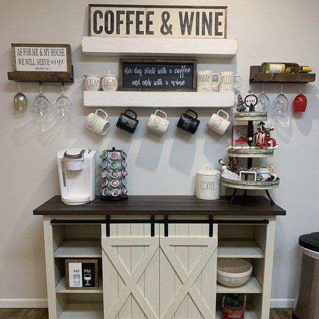 Wood Coffee And Wine Sign Coffee Bar Decor Gift For Coffee Etsy In 2020 Coffee Bar Home Farmhouse Coffee Bar Diy Coffee Bar