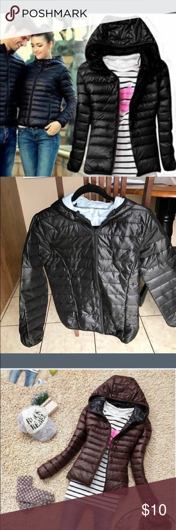 Black jacket packable puffer Cute light weight jacket. Great for spring and fall in black.  It says xl but it's asian sizes. I'm a medium but doesn't fit. Jackets & Coats Puffers
