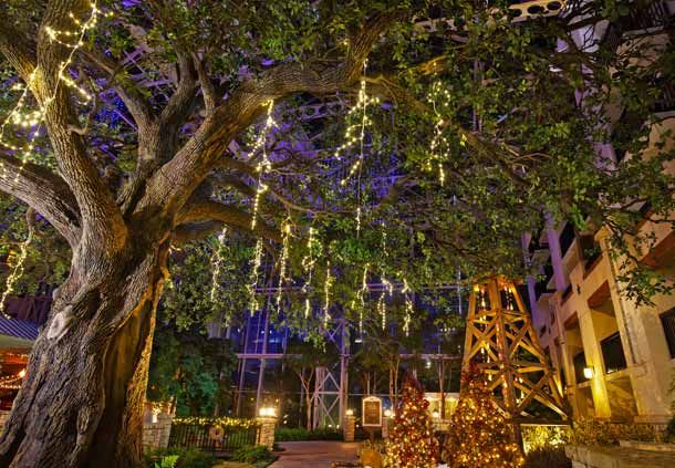 Hill Country Atrium Christmas Décor at the Gaylord Texan Resort in