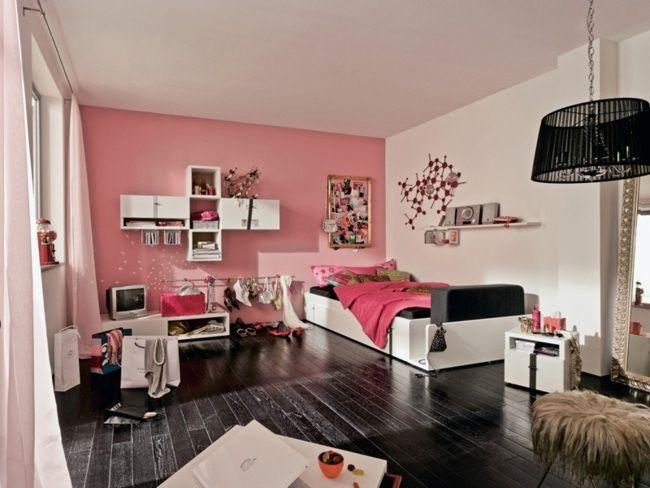 jugendzimmer mädchen rosa wand weiße möbel schwarzer fußboden ...