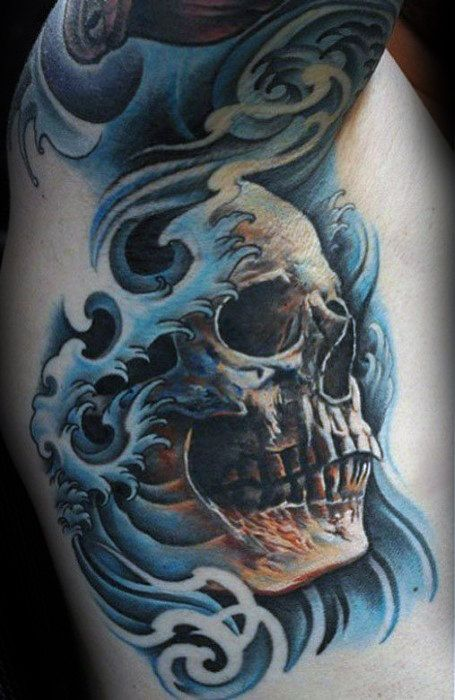 59b3f8b29e4a8 40 Japanese Skull Tattoo Designs For Men - Cool Cranium Ink Ideas ...