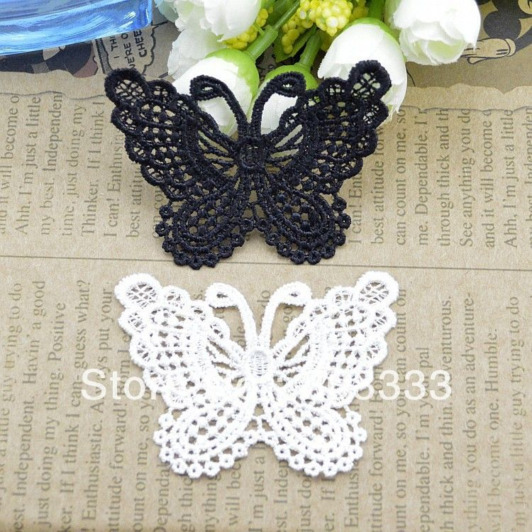 DIY handcraft water soluble lace butterfly black white lace trim ...