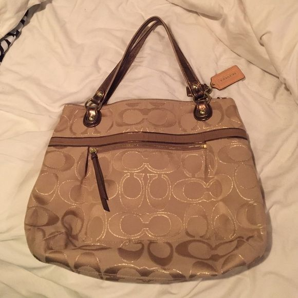 bf839b44c22 Large Coach tote! Large Coach brand tote. Neutral (tan, brown, gold