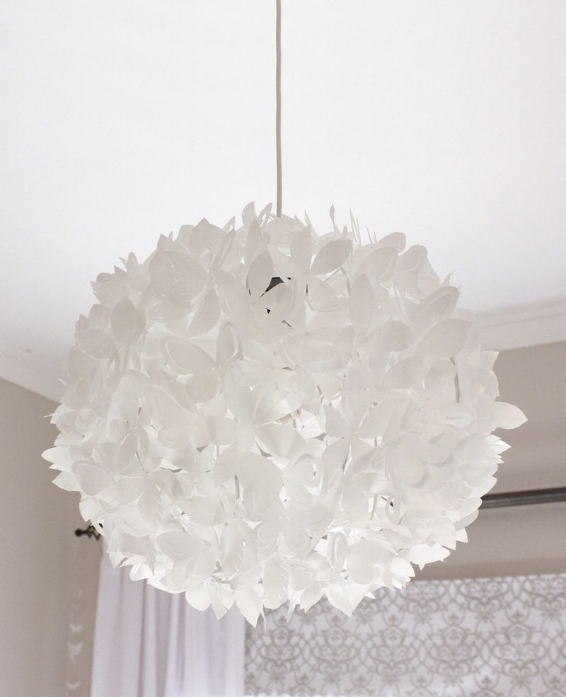 Ball made from strung together milk bottle handles upcycled – White Plastic Chandelier