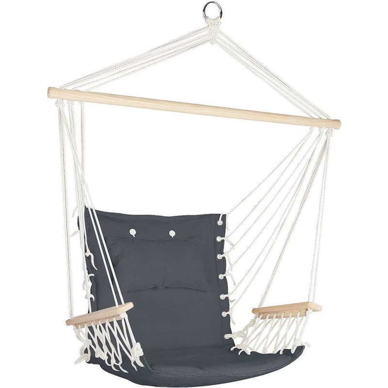 hammock swing chair with wooden armrests in grey   buy hammocks hammock swing chair with wooden armrests in grey   buy hammocks      rh   pinterest