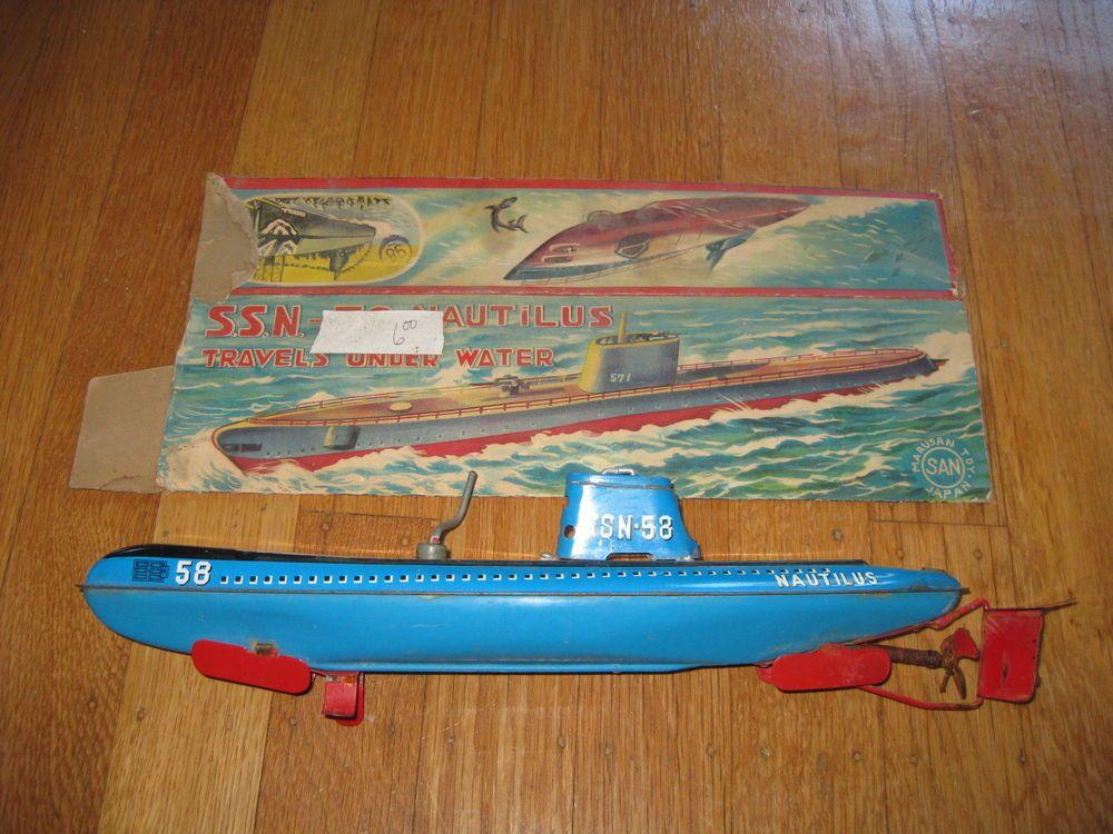 Marusan Nautilus Submarine SSN-58 Japan Vintage Toy San with box ...