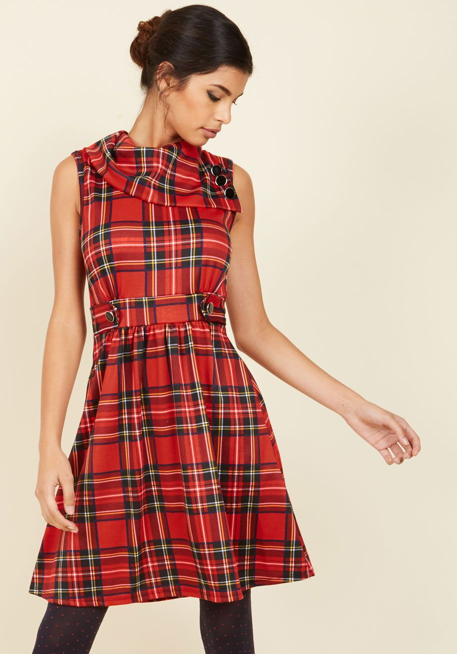 Coach Tour A-Line Dress in Crimson Plaid - Red, Black, Plaid, Print, Casual, Holiday, A-line, Sleeveless, Fall, Winter, Knit, Good, Exclusives, Mid-length, Under 100 Gifts, Holiday Gifts, Holiday Party, Pockets, Novelty Print