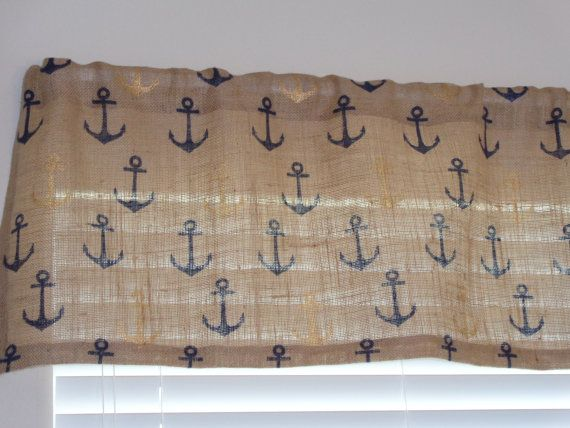 Burlap Jute Anchor Nautical Curtain Valance By SewnDesignsByGayle