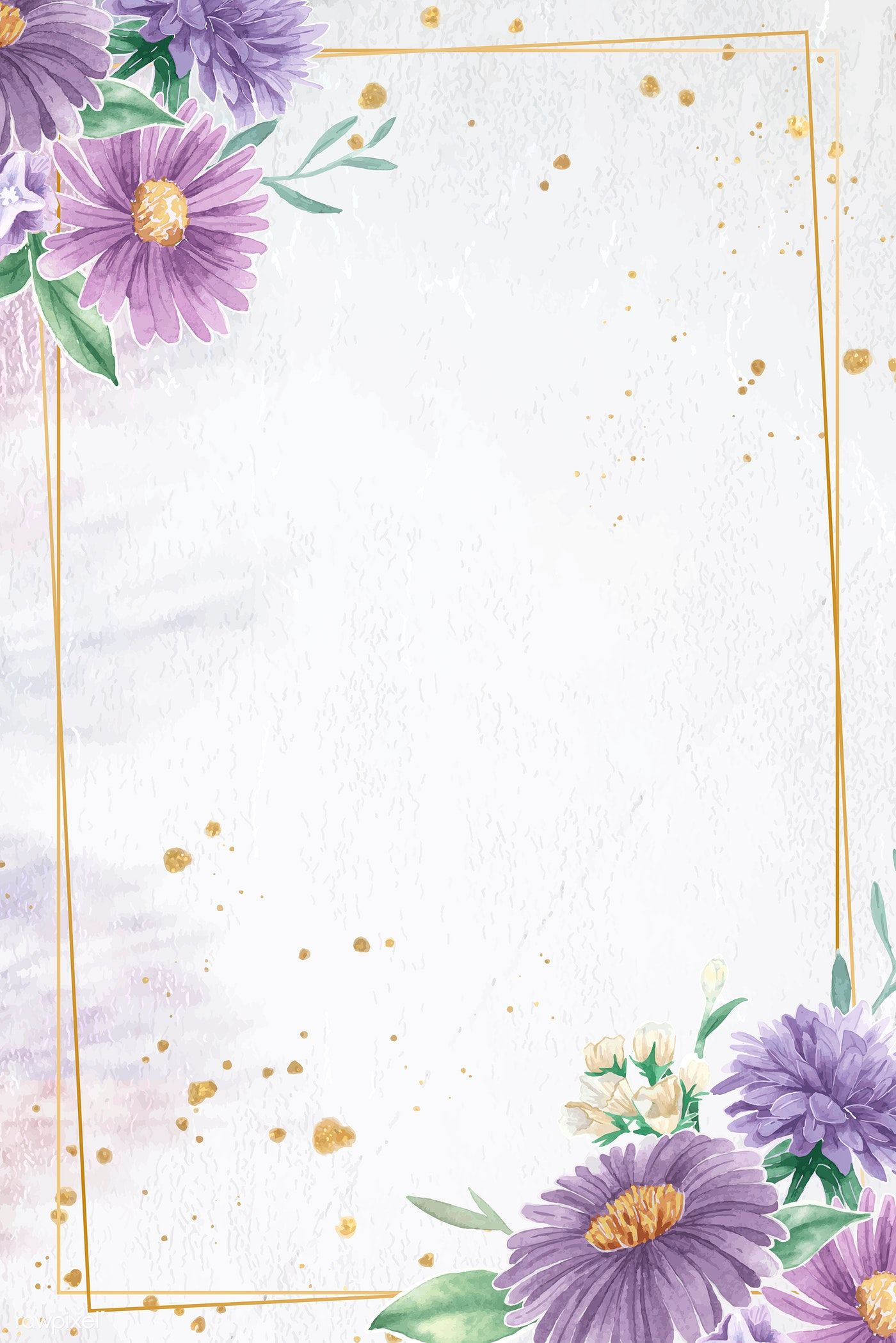 Rectangle gold flower frame vector premium image by