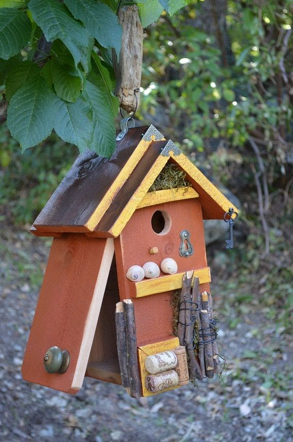 Birdhouse Hand Painted Handmade Beach Rustic Woodworking Birdhouses Functional Birds Garden House Primitive Yard Art Free Shipping via Etsy