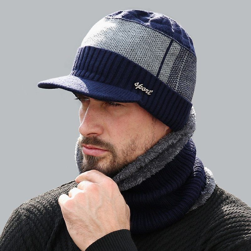 524395f623c Men Sports Winter Hat Knit Visor Beanie Fleece Lined Billed with Brim  Cap+velvet  WORSICO  Casual