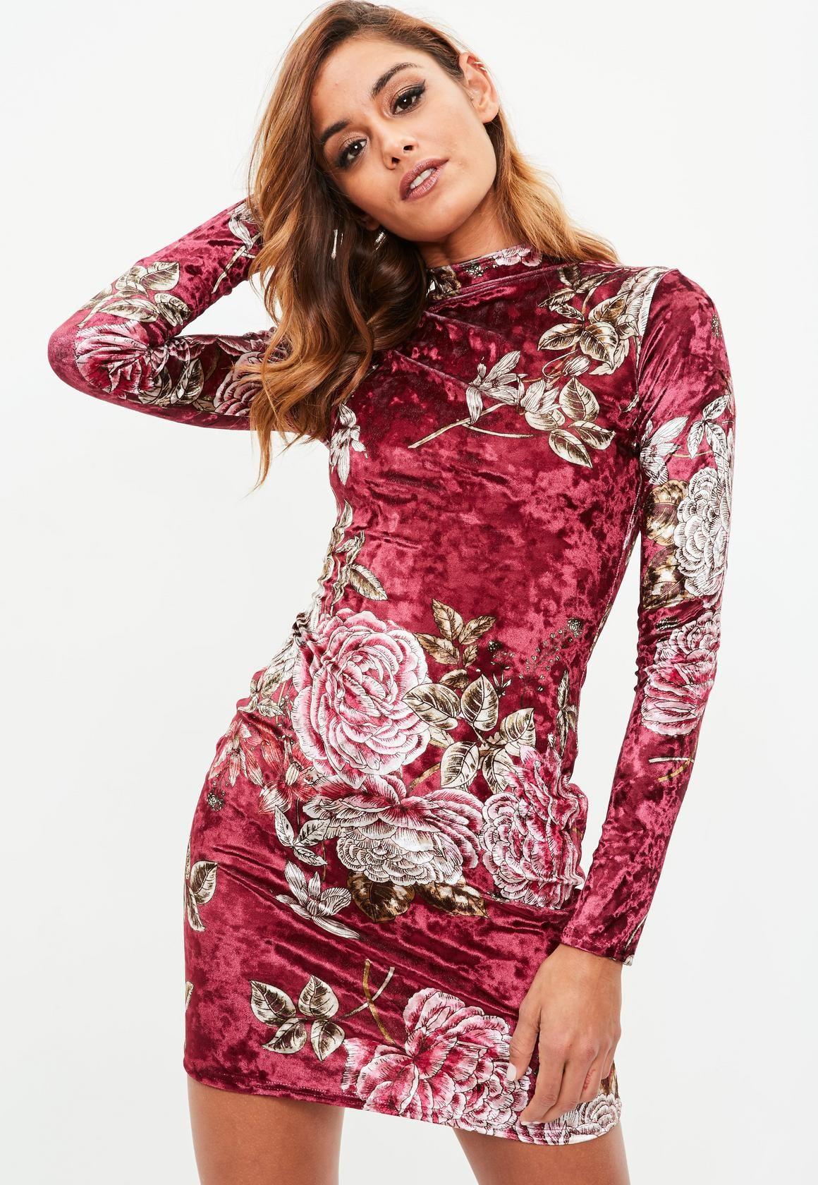 83db96d8b5bf3c Missguided - Burgundy High Neck Velvet Floral Printed Dress Vakantie Jurken