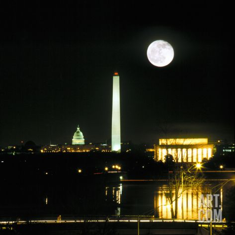 Washington DC Skyline and Monuments at Night Photographic Print by Hisham Ibrahim at Art.com