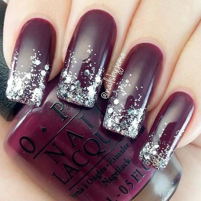 21 Stunning Burgundy Nails Designs That will Conquer Your Heart: #Sparkly  Glitter Designs; #nails; #nailart; #naildesign; #glitternails - 21 Stunning Burgundy Nails Designs That Will Conquer Your Heart