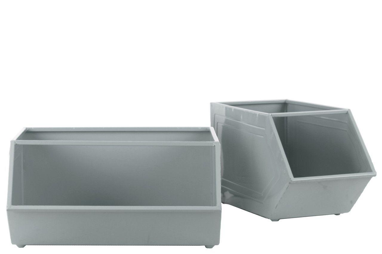 2 Piece Metal Rectangular Storage Basket Set
