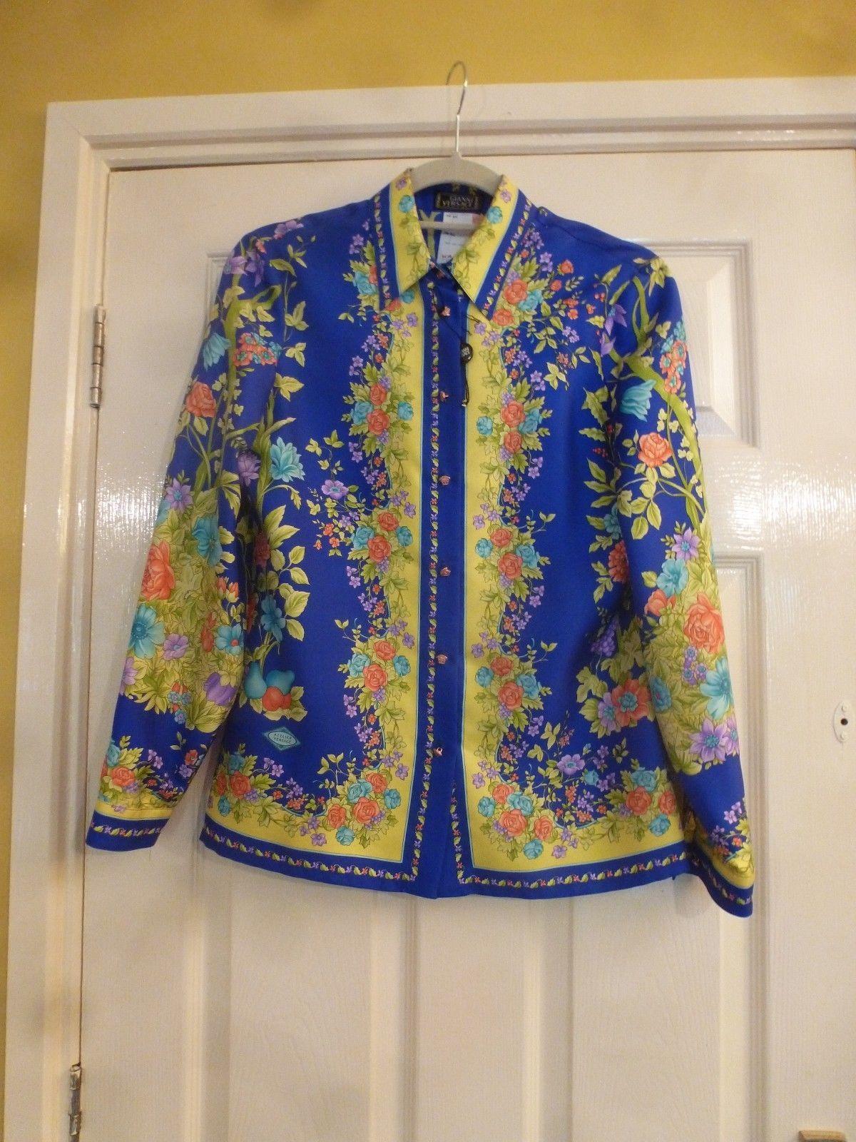 f88a85ebe2 980.78   Gianni Versace Vintage Silk Shirt Medusa Buttons Royal Blue ...