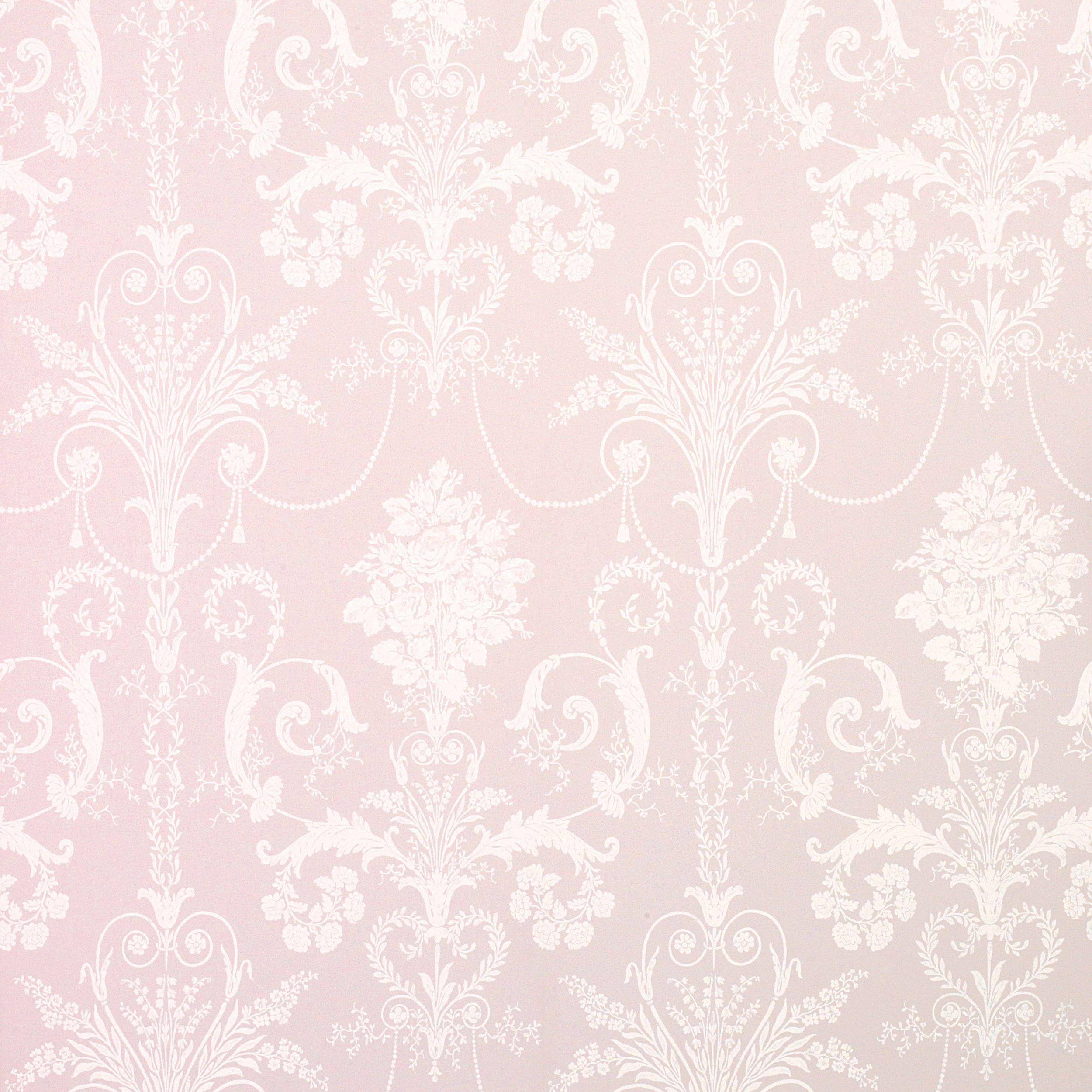 Pink Wallpaper For Bedroom Josette Wallpaper In Amethyst Pink With White Rococo Damask