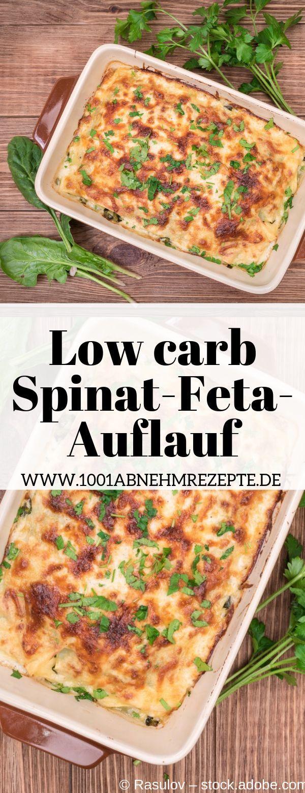 Spinat-Feta-Auflauf low carb: schnelles und gesundes Rezept #schnellerezeptemittagessen