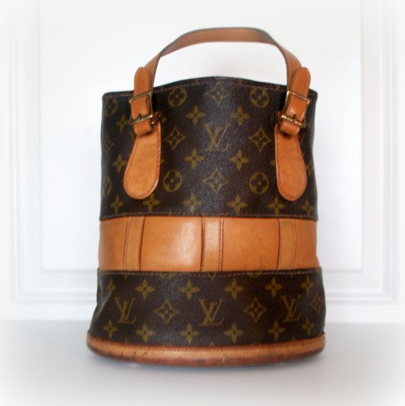 1970s Vintage Louis Vuitton Handbag Purse Bucket Bag Monogram Canvas