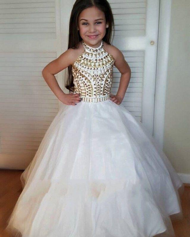 Gold flower girl dress, great gatsby dress, gold pageant dress ...