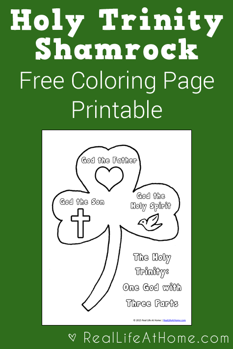 Holy Trinity Shamrock Coloring Page Printable Catholic