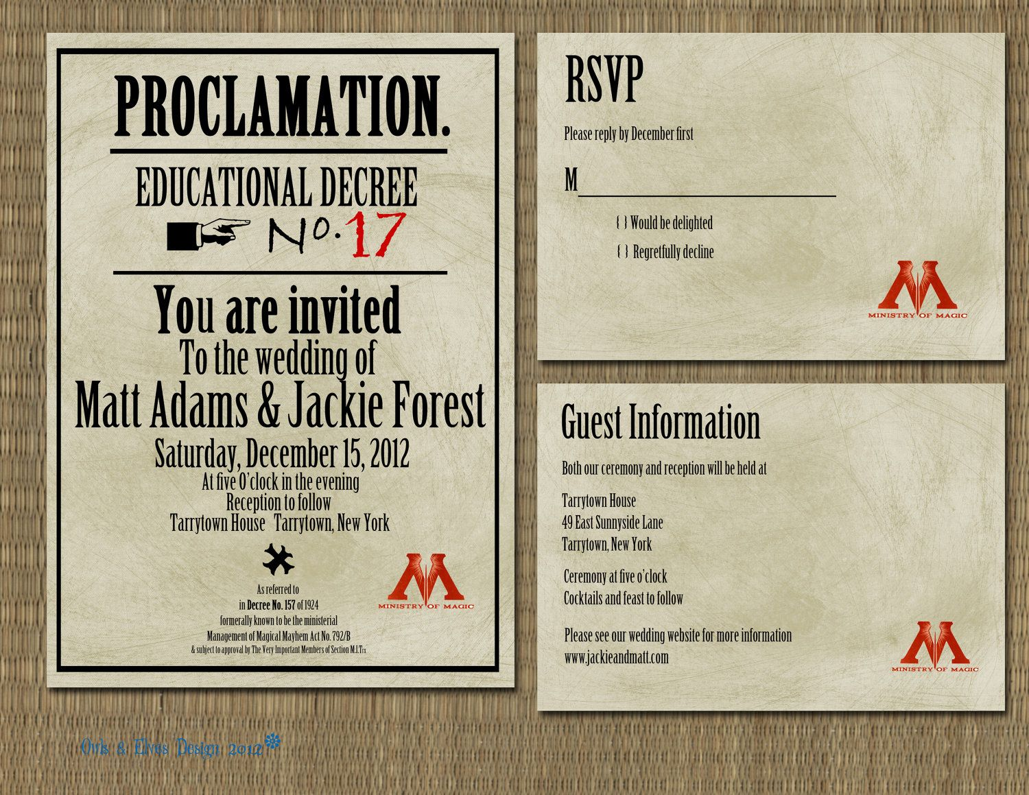Printable Harry Potter Proclamation Wedding Invitation Always A