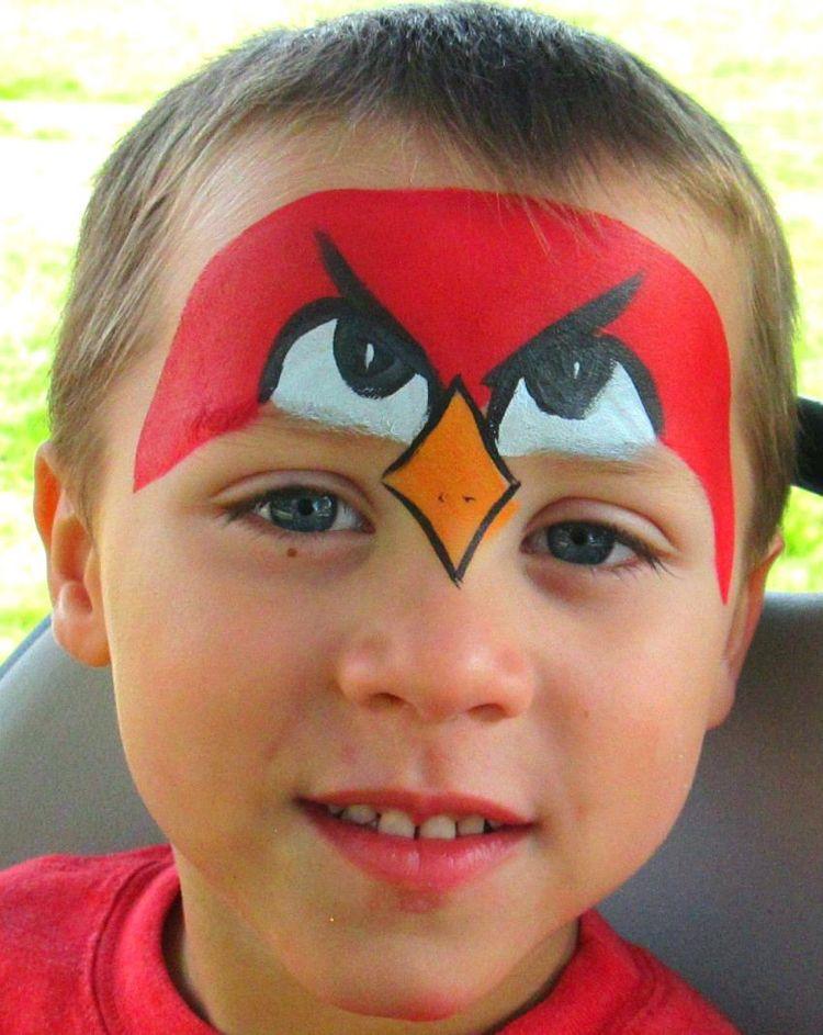 Kinderschminken Jungen Motive Angry Birds Makeup Fasching Kinder