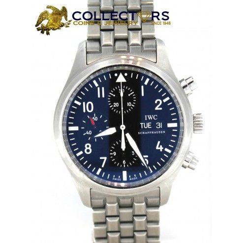 IWC Pilot Chronograph Day Date 3717-04 42mm Stainless Steel Band #iwc #pilot #stainless #steel #mens #watch #shopccj #shopccj.com #jewelry #shop #online #sale