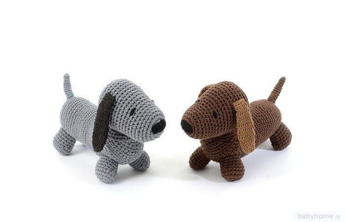 Smallstuff - hæklet gravhund - vælg mellem brun og grå