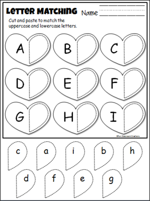 Alphabet Match - Cut and Paste Heart Worksheets ...