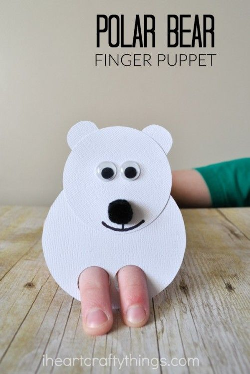 Polar Bear Kids Craft Finger Puppets