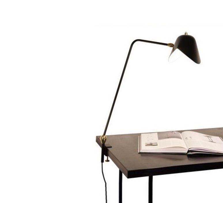Lampe de bureau Agrafe deux rotules noir H67cm Serge Mouille