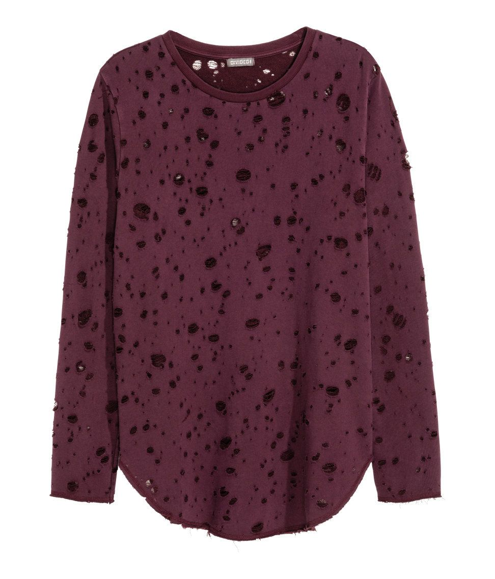 Trashed Sweatshirt H M Divided Guys Clothes Purple Long Sleeve Tops Fashion [ 1137 x 972 Pixel ]