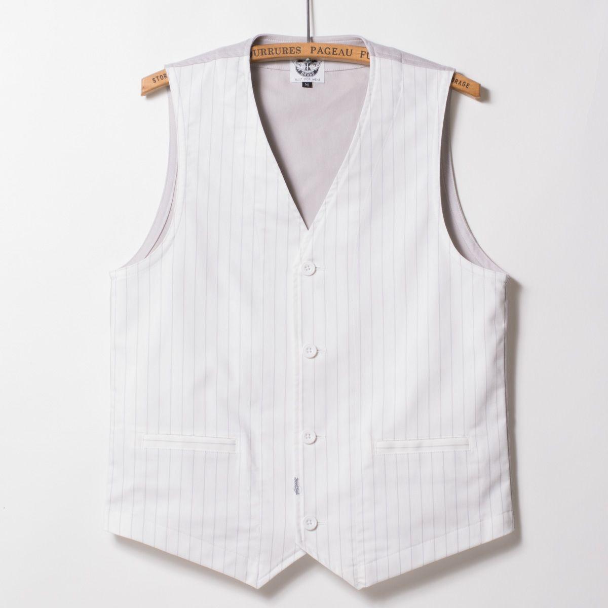 "Stretch Four Vest ""White Impact"". Color: White&GrayStripe. Material: Cotton100%. Sizes: S/M/L/XL."